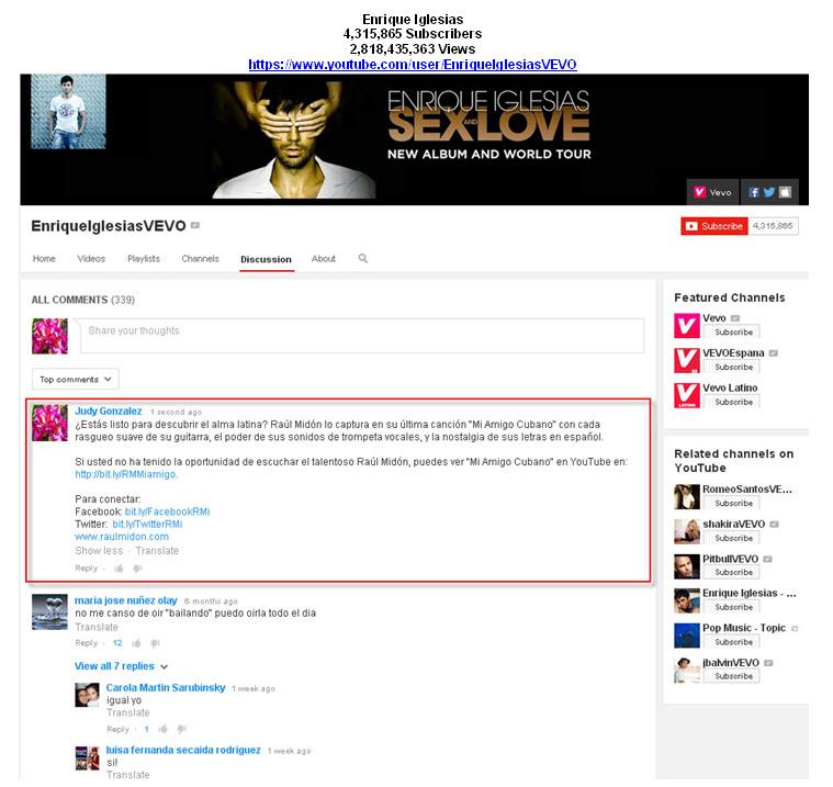 Enrique Iglesias YouTube Tastemaker