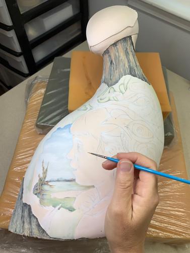 Work in progress, painting with underglazes