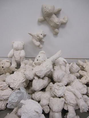 Installation shot. Pile of bears