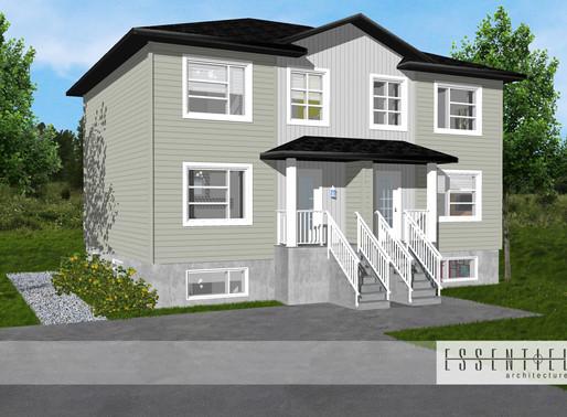 Conception architecturale d'un 4 logements.