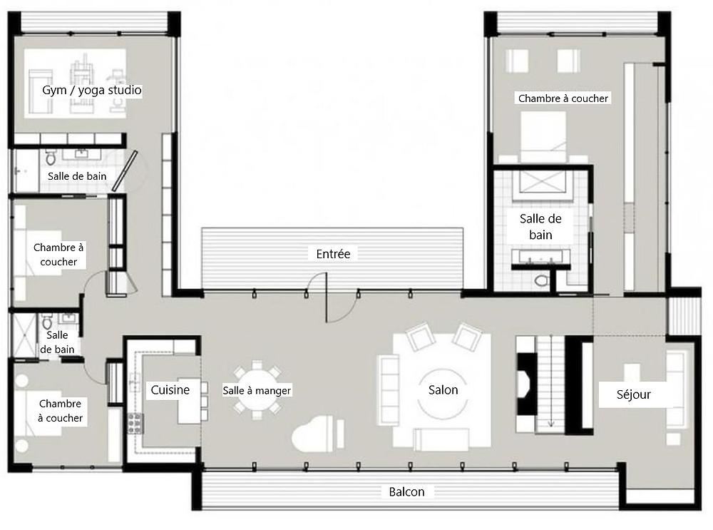 Exemple de plan de maison en U | Essentiel Architecture | Québec