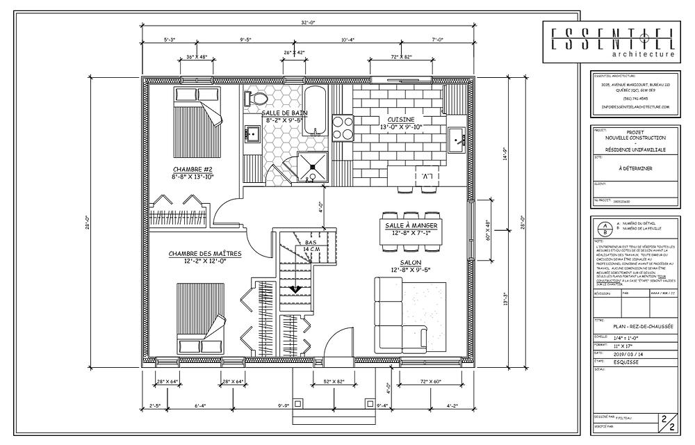Conception de plan de maison 4 versants | Essentiel Architecture | Québec