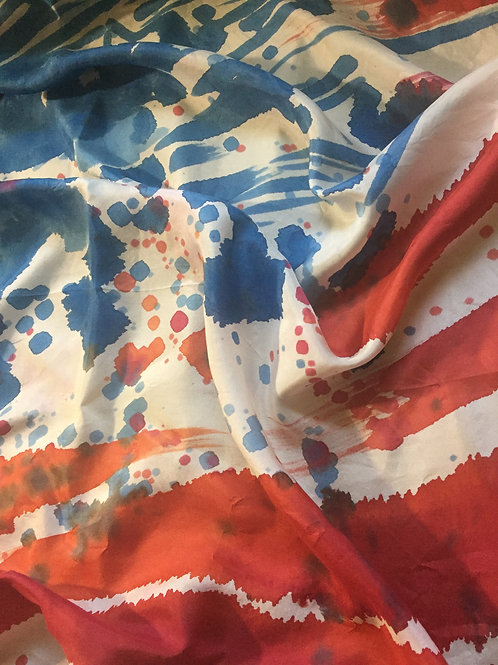 Abstract US Flag Silk Scarf
