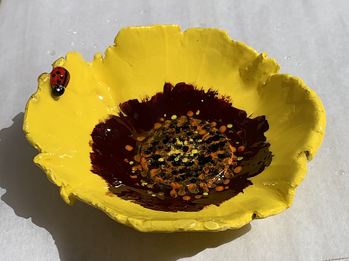 Yellow Flower with Lady bug