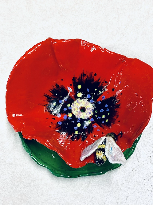 Red Poppy with Bee Dish