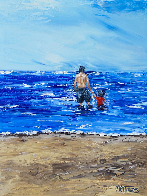 Father and Son16x20 oil on canvas, palette knife painting