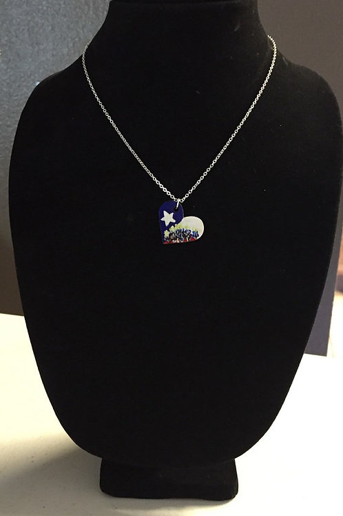 Heart Shaped Texas Flag and Bluebonnets Necklace