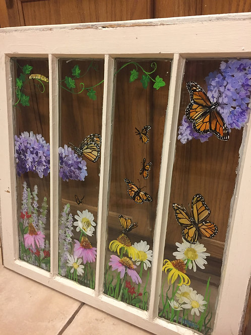 Flowers and Butterflies painted antique window