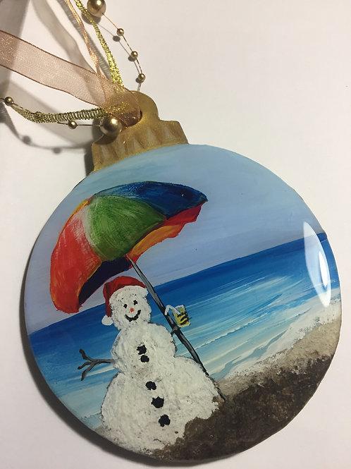 Snowman on the Beach Ornament