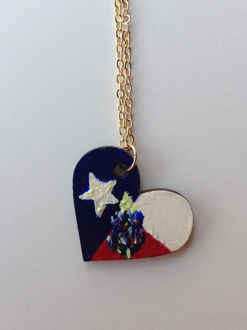 Heart Shaped Bluebonnet and Texas Flag necklace