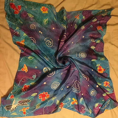 Hummingbird and Vine Hand dyed silk scarf