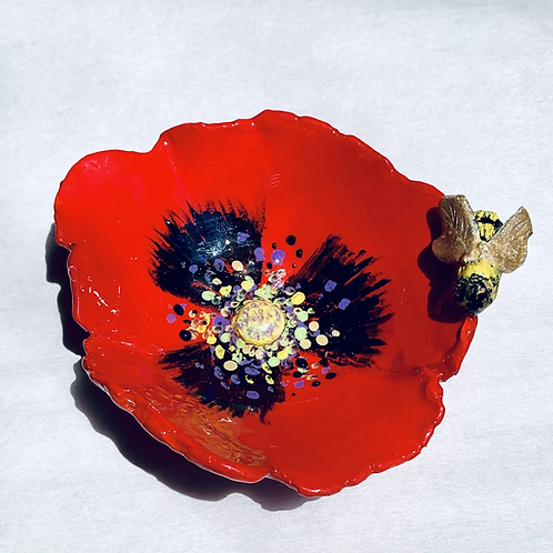 Red Poppy and Bee dish