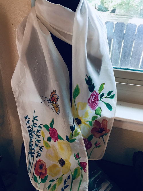 Butterfly and Flowers Scarf