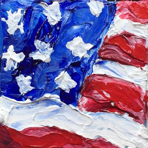 Miniature US Flag Painting