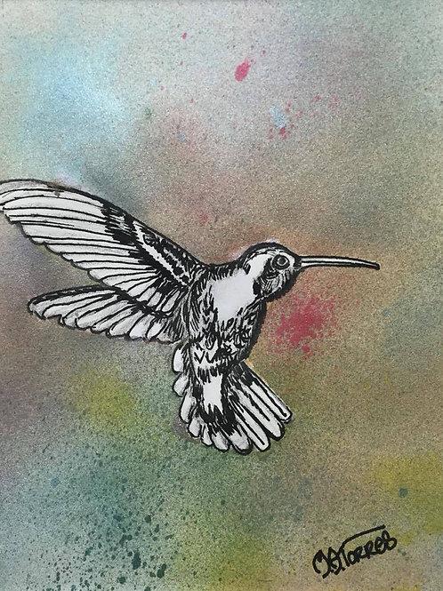 Hummingbird ink painting