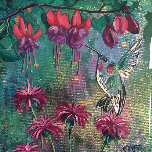Hummingbird, Beebalm, and Fuscia