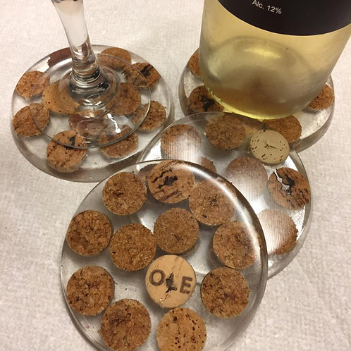 Wine cork and resin coasters