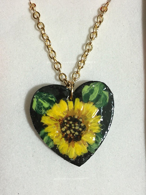 Heart Shaped Sunflower Necklace