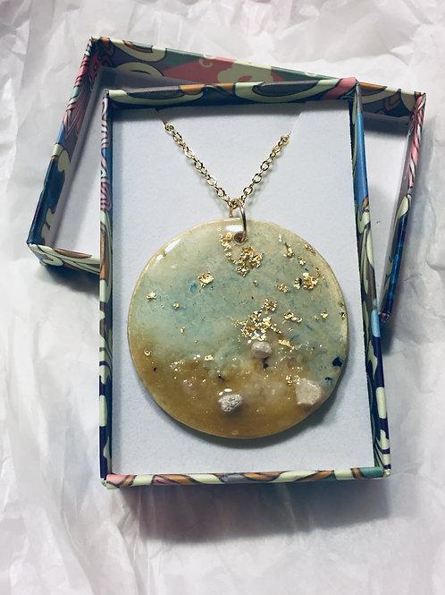 Resin, gold leaf, sand necklace