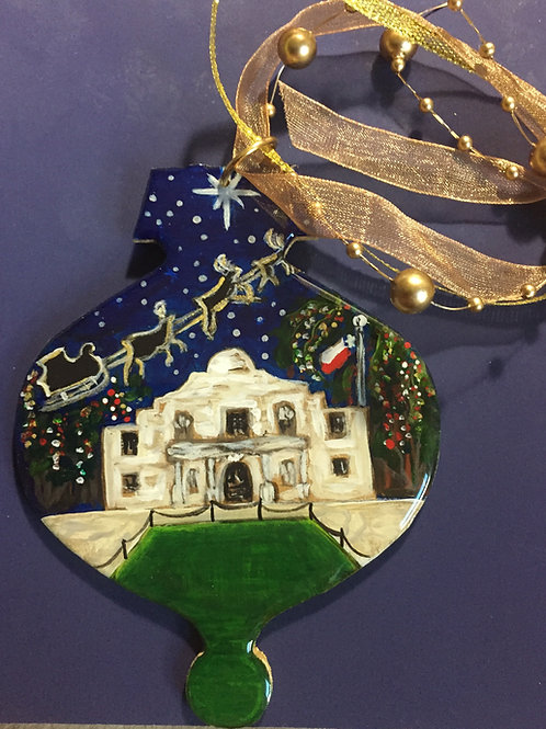 Santa Flying over The Alamo Ornament