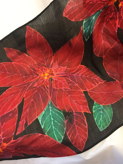 Poinsettia silk/wool blend scarf