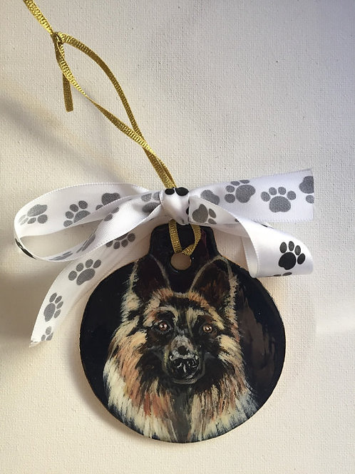 German Shepherd Ornament-Black Background