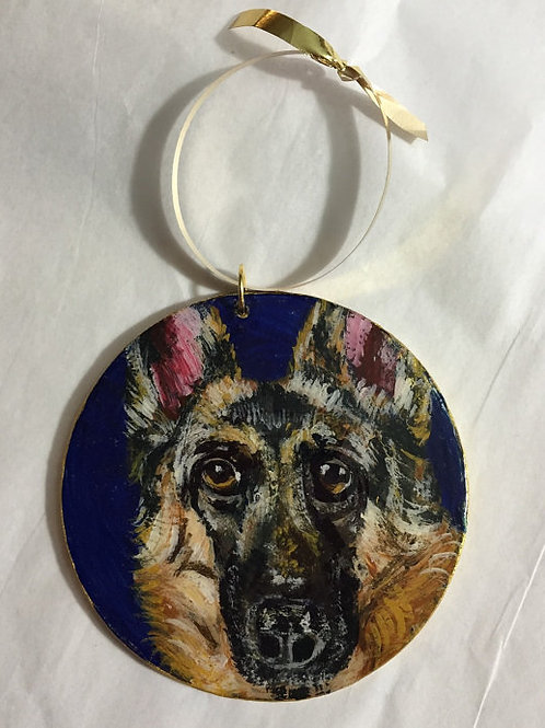 German Shepherd Ornament-Blue Background