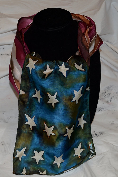 Old Glory Hand dyed silk scarf
