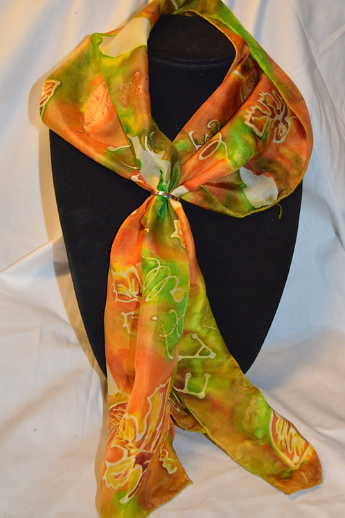 Fall Leaves hand dyed silk scarf