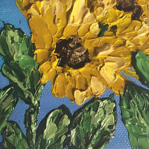 Miniature Sunflower painting