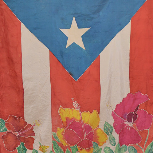 Puerto Rican Flag and Hibiscus Hand Dyed Silk Scarf
