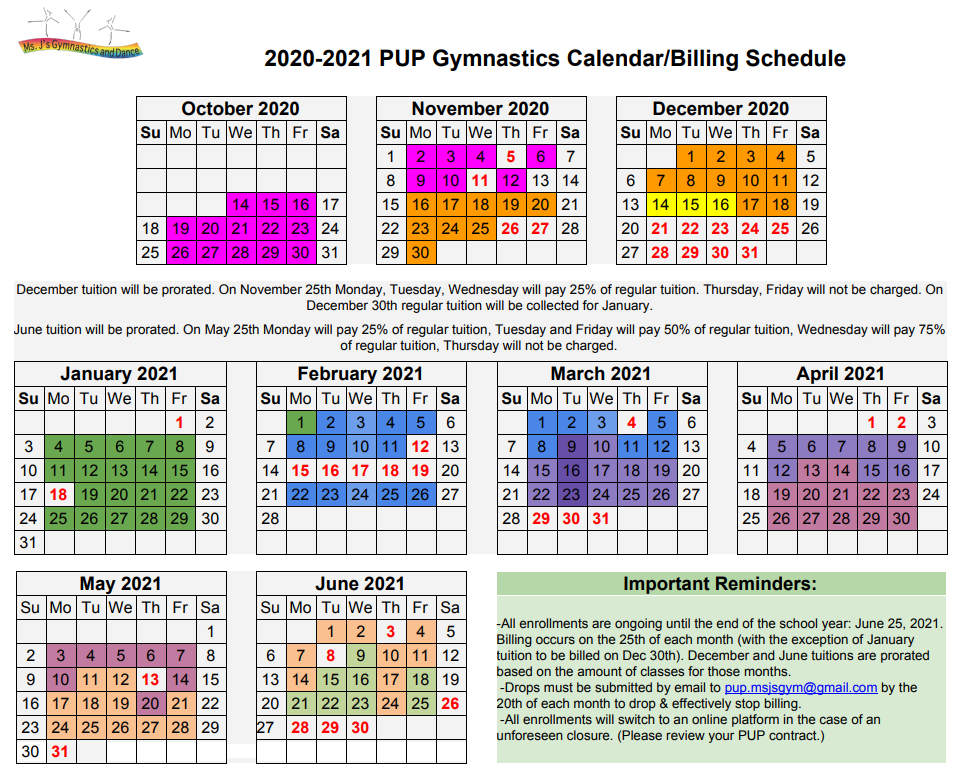 2020-2021 PUP Calender and Billing Sched