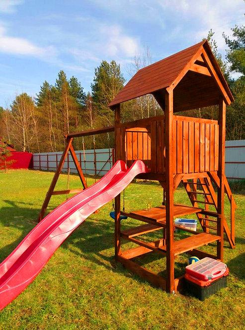 Игровой комплекс Теремок 5 + деревянная крыша