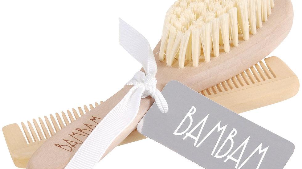 Bambam - Peigne et brosse en bois