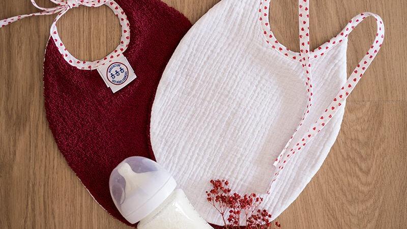 Manufacture des bébés - Blanc & Bordeau - Lot de 2