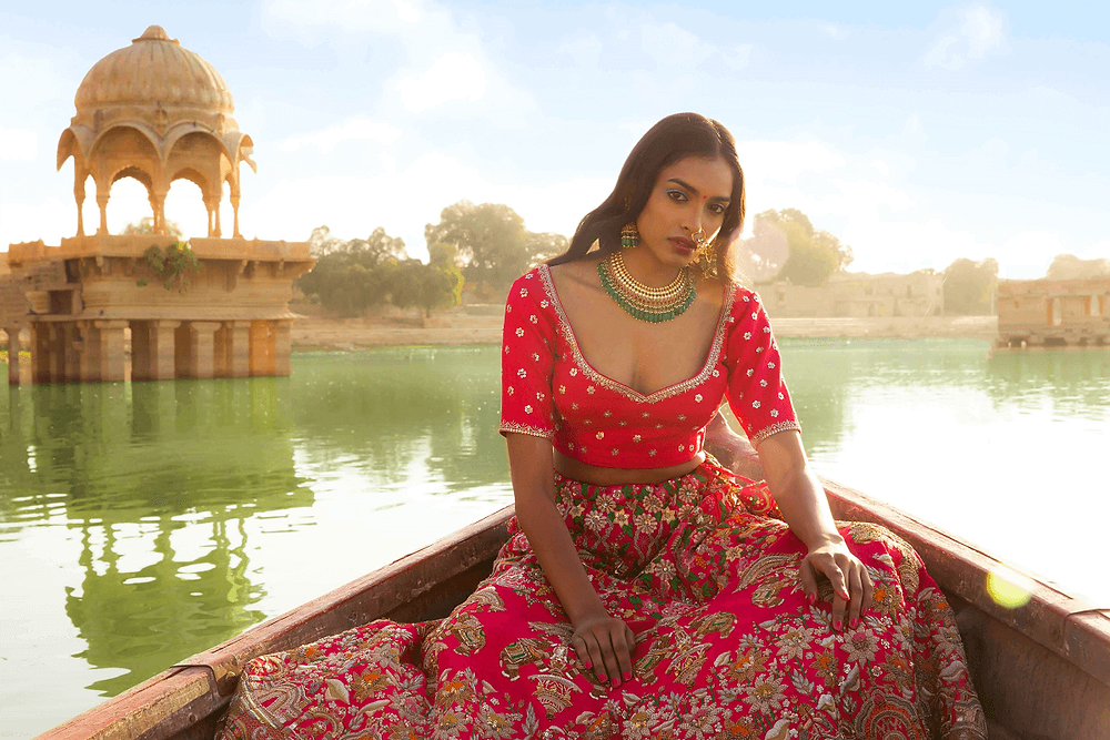 the hand embroidery lehenga for summer