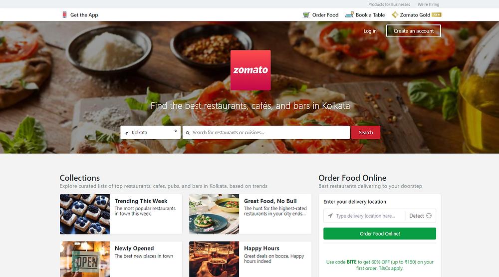 a food ordering website