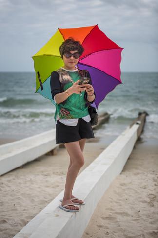 Cambodian Lady on the Beach - Portrait.W