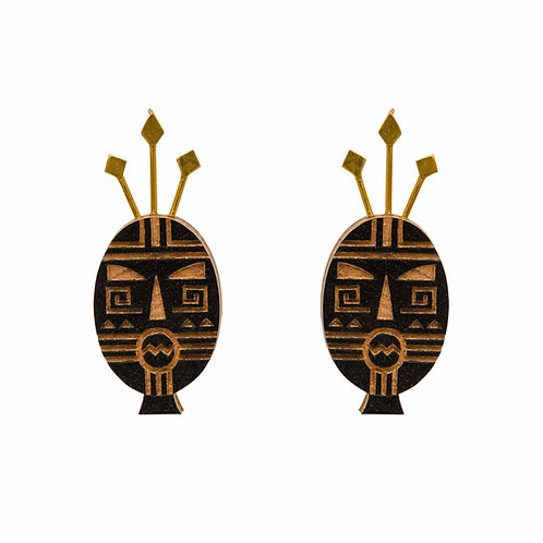 Mayan Tribal Mask Earrings