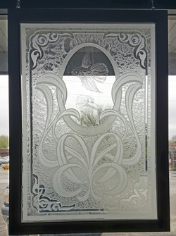 Glass, Etched & Glue Chipped