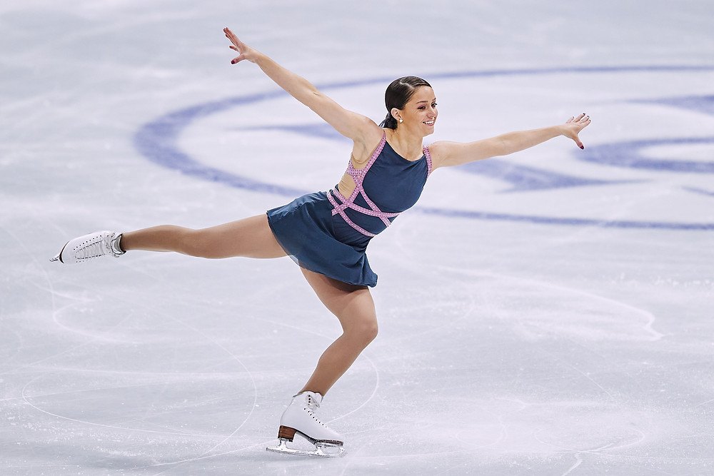 Natasha McKay skates at the World Figure Skating Championships