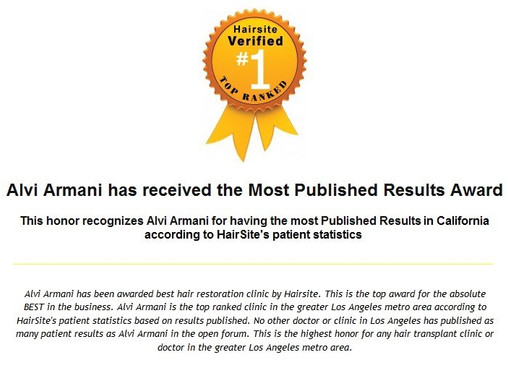 It's proven again!!Alvi armani is No.1 hair transplant clinic