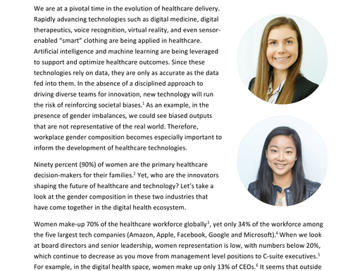 Gender Diversity in Driving Digital Health Innovation