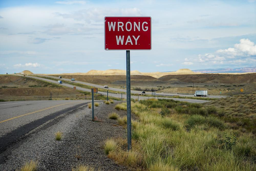 """Sign """"Wrong Way"""""""