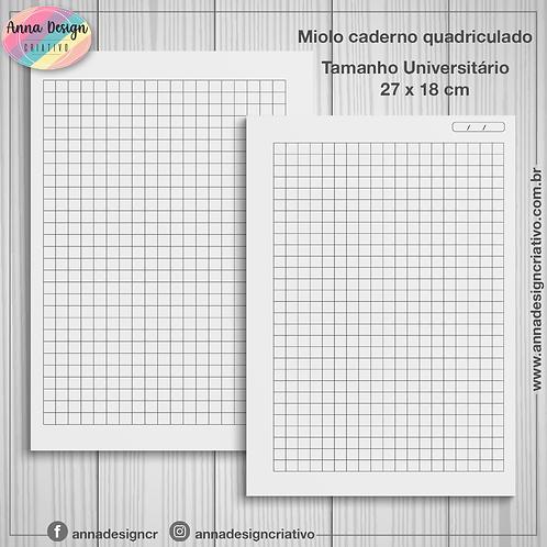 Miolo caderno quadriculado - Tamanho Universitário