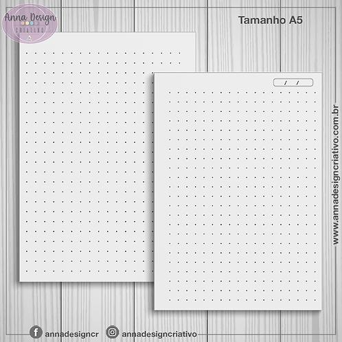 Miolo caderno pontilhado - Tamanho A5 - 100 folhas