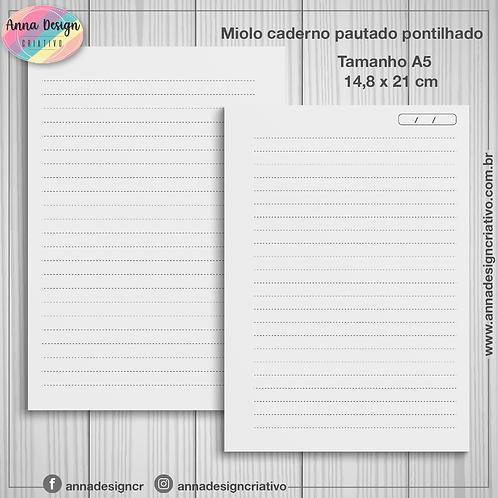 Miolo caderno pautado pontilhado - Tamanho A5