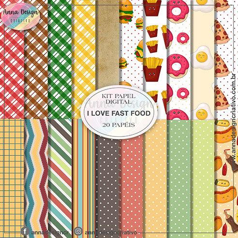 Kit papel digital I love fast food 01