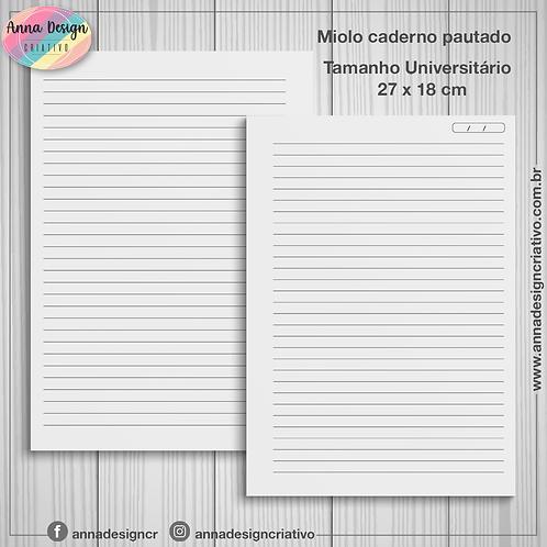 Miolo caderno pautado - Tamanho Universitário