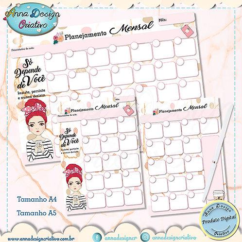 Planejamento mensal Só depende de você - Red hair - não datado